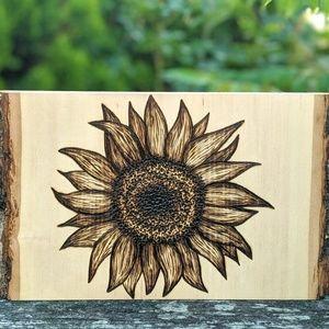 Rustic Sunflower Wood Burned Sign